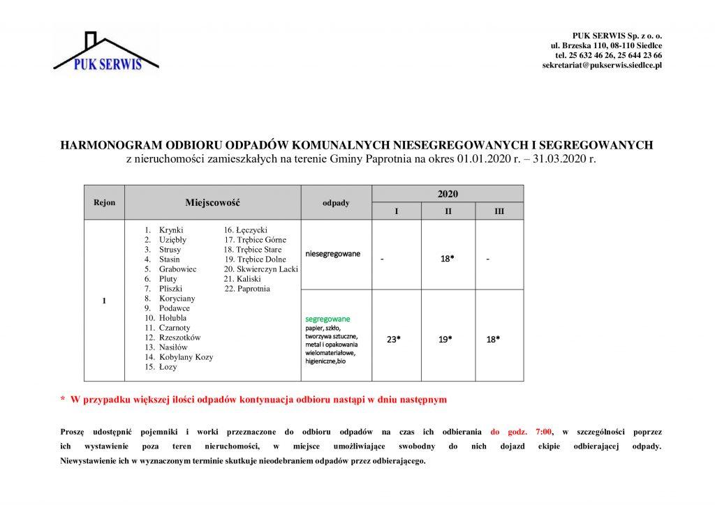 Ilustracja do:  Harmonogram odbioru odpadów komunalnych z terenu gminy Paprotnia w I kwartale 2020 r.
