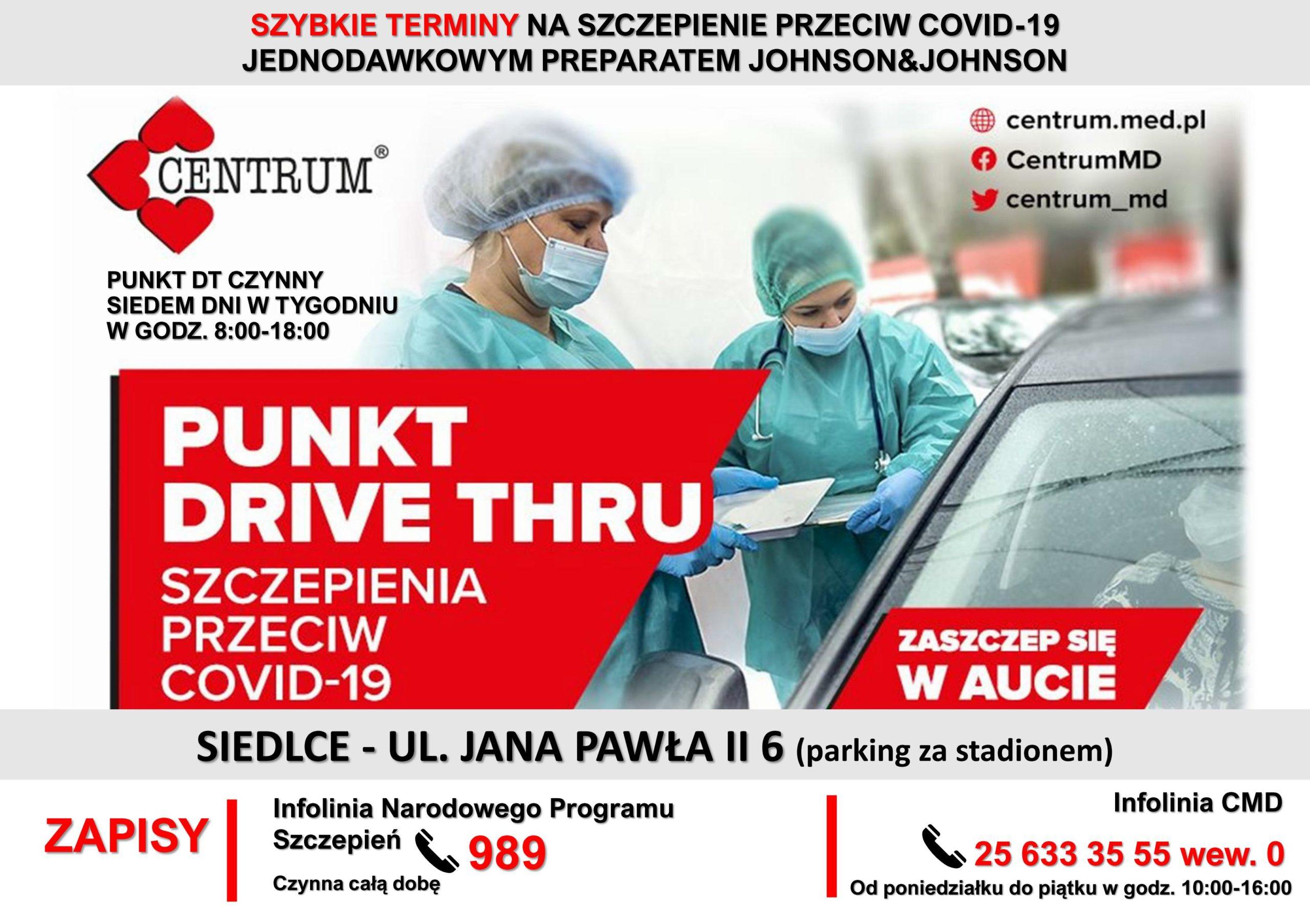 Plakat informujący o lokalizacji punktu drive yhru na szczepienia przeciwko COVID-19