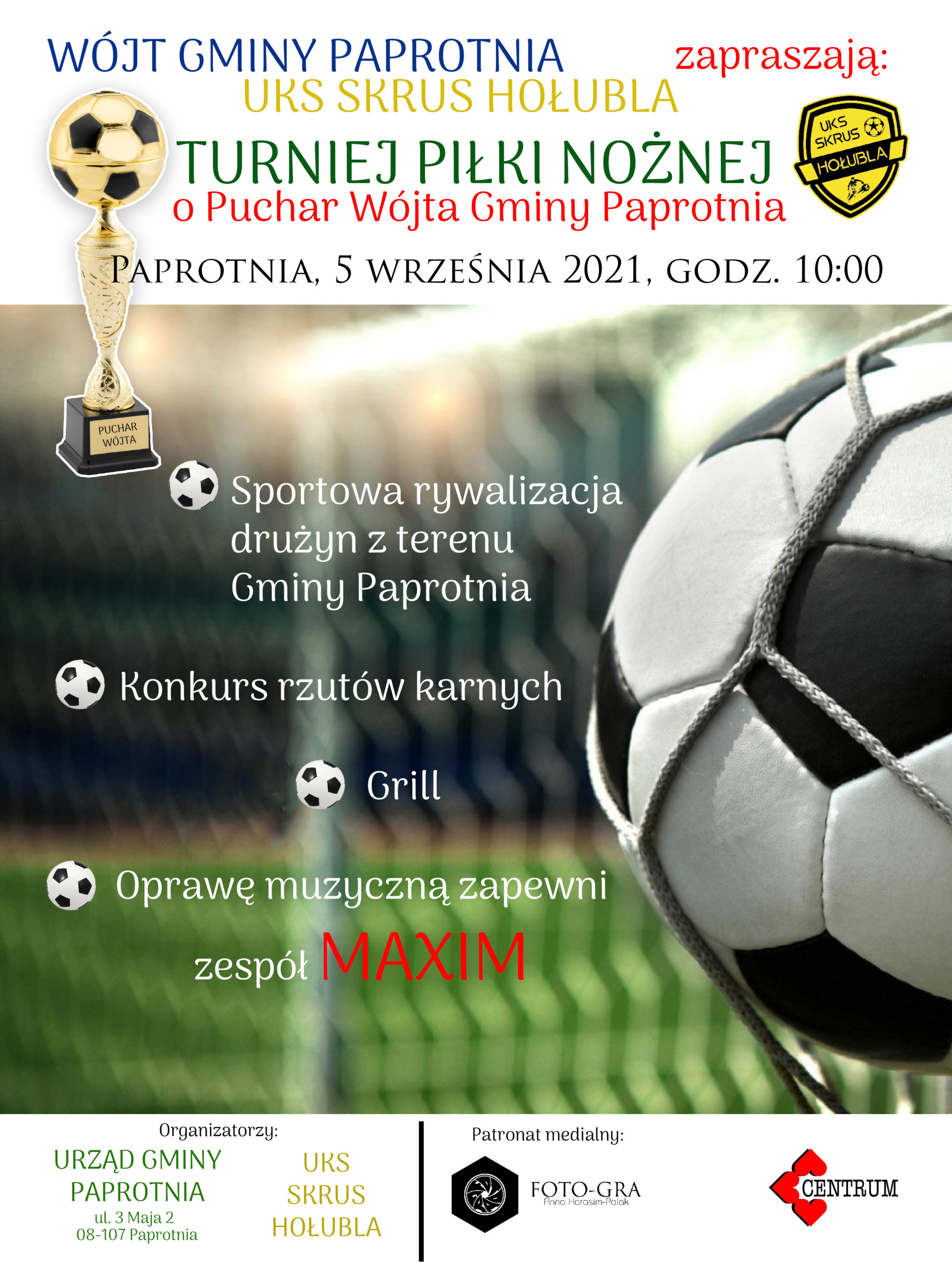 Plakat- turniej piłki nożnej o Puchar Wójta Gminy Paprotnia
