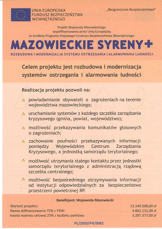"""Ilustracja do:  """"Mazowieckie Syreny+"""" rozbudowa i modernizacja systemu ostrzegania i alarmowania ludnoś"""
